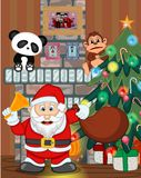 Santa Claus with christmas tree and fire place Vector Illustration Stock Photography