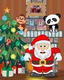 Santa Claus with christmas tree and fire place Vector Illustration Stock Photo