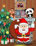 Santa Claus with christmas tree and fire place Vector Illustration Stock Images