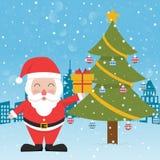 Santa claus christmas tree gift box. Vector Stock Images