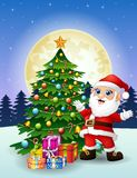 Santa claus with christmas tree and gift boxes at night full moon background Stock Images