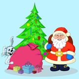 Santa Claus, Christmas tree and gifts Stock Image