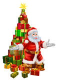 Santa Claus Christmas Tree Gifts. An illustration of happy Christmas Santa Claus with a large stack of presents or gifts in a Christmas tree shape with a star on Royalty Free Stock Photos