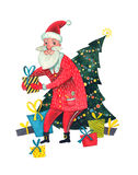Santa Claus with Christmas tree and gifts Stock Photos