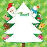 Santa Claus And Christmas Tree On-Grün-Hintergrund Stockbild