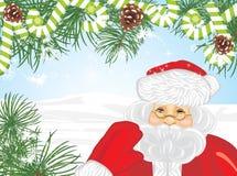 Santa Claus and Christmas tree. Greeting card Stock Images