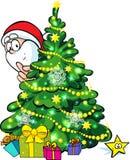 Santa Claus and christmas tree Royalty Free Stock Photo