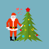 Santa Claus and Christmas tree holding hands. Christmas date. Old man in red suit and fur-tree New Year. vector illustration