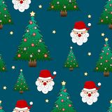 Santa Claus and Christmas Tree on Indigo Blue Background. Vector Illustration stock illustration