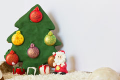Santa Claus and Christmas tree made of gingerbread Stock Images