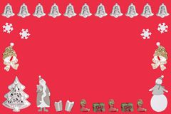 A santa claus a christmas tree many christmas gifts and bells with snowman and snowflakes. Against a red background royalty free illustration