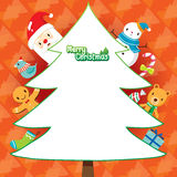 Santa Claus And Christmas Tree On Orange Background Royalty Free Stock Photos