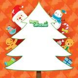 Santa Claus And Christmas Tree On-Orangen-Hintergrund Lizenzfreie Stockfotos