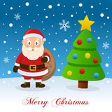 Santa Claus & Christmas Tree on the Snow Royalty Free Stock Photos