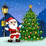 Santa claus with christmas tree and snowfall falling at night background Royalty Free Stock Photos