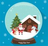 Santa Claus, Christmas tree, snowman, cute dog, presents and house, scene in snow globe vector illustration