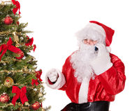 Santa claus by christmas tree thumb up. Stock Images