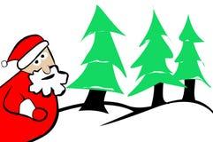 Santa Claus Christmas Trees and Snow. Santa Claus Christmas Trees and Winter Snow Background Stock Photo