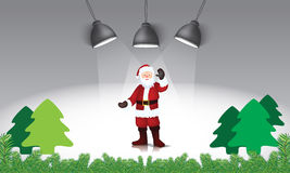 Santa claus and christmas trees on the stage Royalty Free Stock Photo