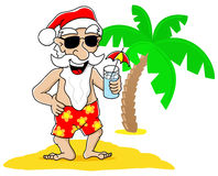Santa claus at christmas on vacation at the beach Stock Photo