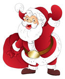 Santa Claus - Christmas Vector Illustration. Cartoon Santa Claus with Christmas Gifts Bag Vector Illustration Royalty Free Stock Images