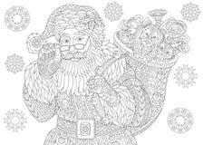 Santa Claus and Christmas vintage snowflakes Stock Photos