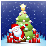 Santa Claus into Christmas winter scene Royalty Free Stock Images