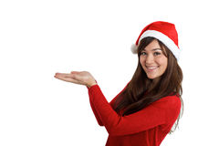 Santa Claus Christmas Woman holding product. On white background royalty free stock photography