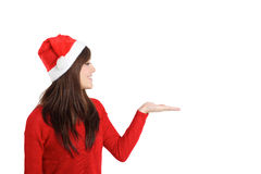 Santa Claus Christmas Woman holding product. On white background stock image