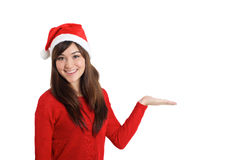 Santa Claus Christmas Woman pointing product. On white background Stock Image