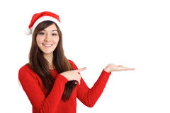 Santa Claus Christmas Woman pointing product. On white background Stock Photos