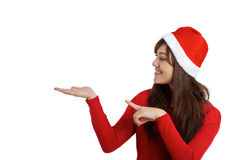 Santa Claus Christmas Woman pointing product. On white background Stock Photography