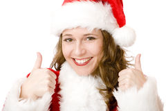 Santa Claus Christmas woman shows thumbs up Royalty Free Stock Photography