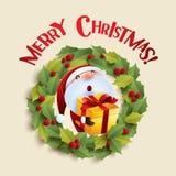 Santa Claus and Christmas wreath Royalty Free Stock Image