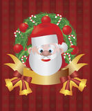 Santa Claus in Christmas Wreath Illustration Stock Photos