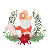 Santa Claus in a Christmas wreath reading a roll of paper. Vector illustration, isolated on white background. stock illustration