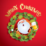 Santa Claus and Christmas wreath Royalty Free Stock Photography