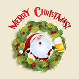 Santa Claus and Christmas wreath Royalty Free Stock Images
