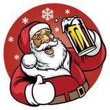 Santa Claus cieszy się szkło piwo ilustracji