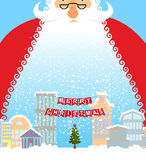Santa Claus in city. Christmas in town. Snow and buildings. New Stock Images
