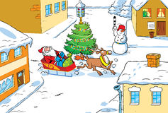 Santa Claus in city Royalty Free Stock Photos