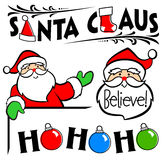 Santa Claus Clip Art Set/eps. Illustrated retro Santa Claus headline, with assorted Christmas Santa illustrations Royalty Free Stock Images