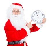 Santa Claus With Clock imagens de stock royalty free