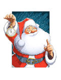 Santa Claus With Clock Lizenzfreie Stockbilder