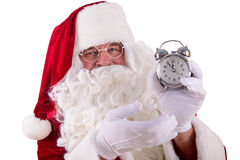 Santa Claus With Clock Stock Foto's