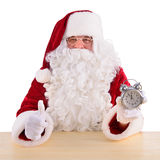 Santa Claus With Clock Lizenzfreie Stockfotos