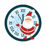 Santa Claus and clock. Santa and New Year Clock Royalty Free Stock Photos
