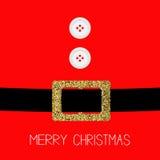 Santa Claus Coat avec la fourrure, boutons Ceinture de scintillement d'or Conception plate de carte de fond de Joyeux Noël Images stock