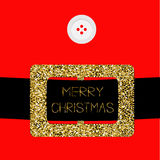 Santa Claus Coat with button and gold glitter belt. Royalty Free Stock Images