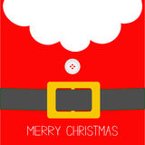 Santa Claus Coat, button and yellow belt. Beard, fur. Merry Christmas greeting card. Red background. Flat design Royalty Free Stock Image